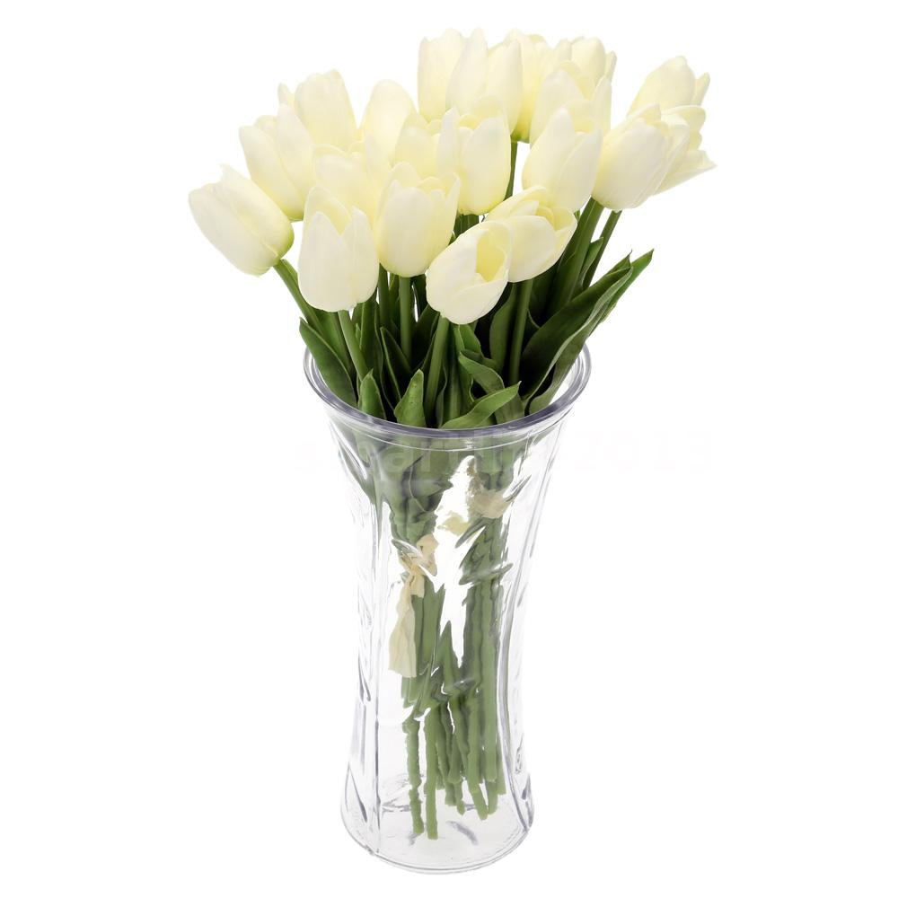 20PCS Artificial Tulip Flower Bouquet Fake Silk DIY Wedding Garden Decor FV3T  eBay