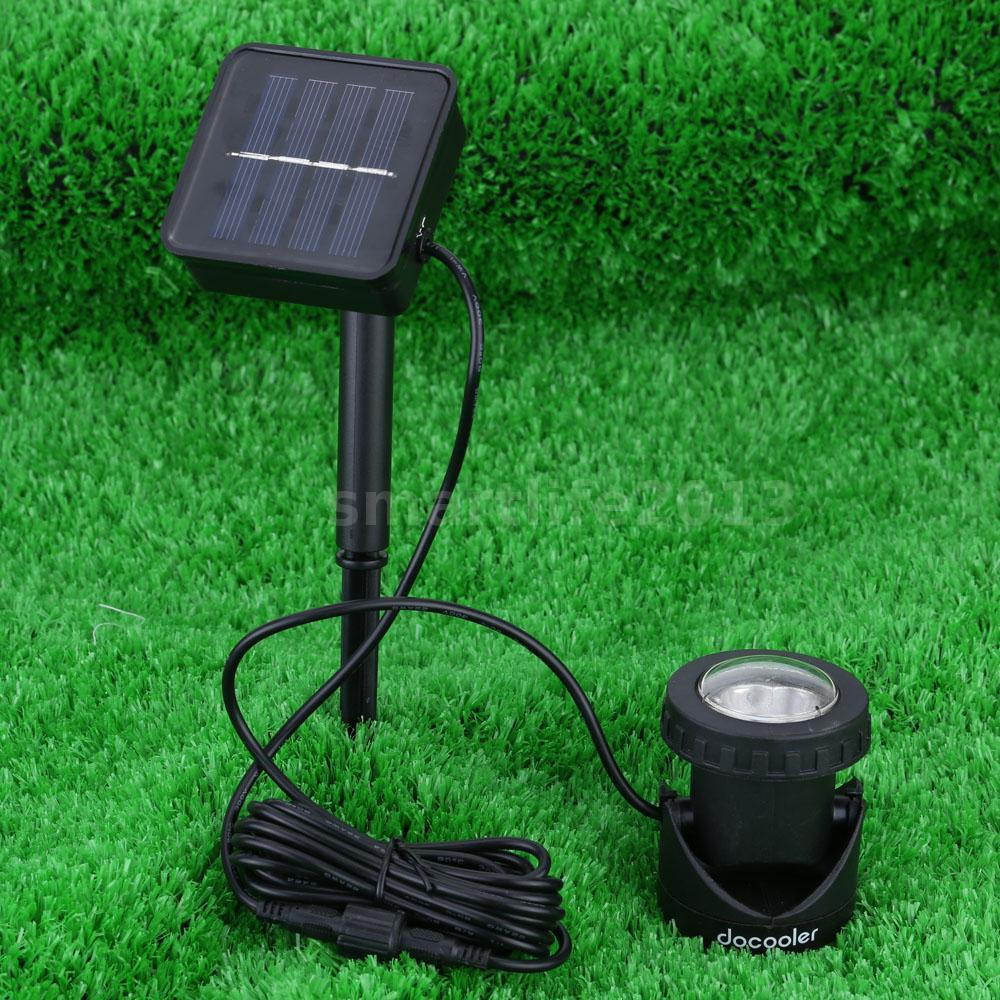 4x waterproof solar powered led spot light lamp garden for Garden pond lights